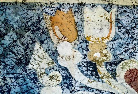 craquelure: Tulip, fragment, hot batik, background texture, handmade on silk, abstract surrealism art