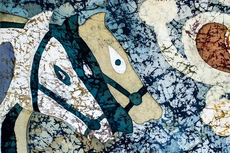 surrealism: Horse heads, fragment, hot batik, background texture, handmade on silk, abstract surrealism art Stock Photo