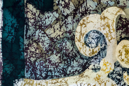 craquelure: Ornament, fragment, hot batik, background texture, handmade on silk, abstract surrealism art
