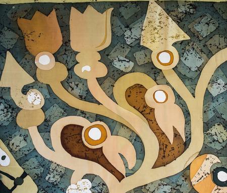 surrealism: Plants, fragment, hot batik, background texture, handmade on silk, abstract surrealism art Stock Photo