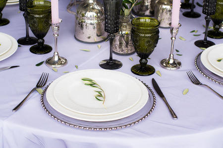 candelabrum: Wedding decoration for banquet with olive tree