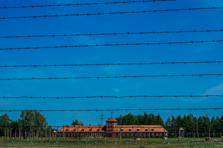 View to Birkenau Commandants Office and housing for SS man, Poland Editorial