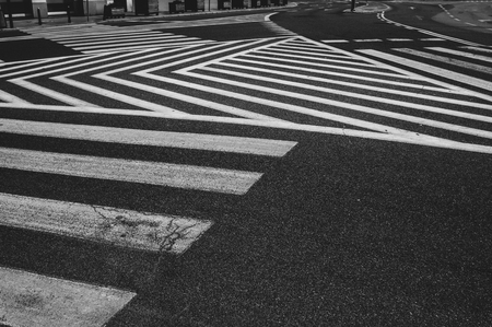 Abstract lines of pedestrian crossing, black and white Banco de Imagens
