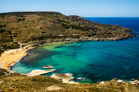 View of the Gnejna Bay from the hill, Malta