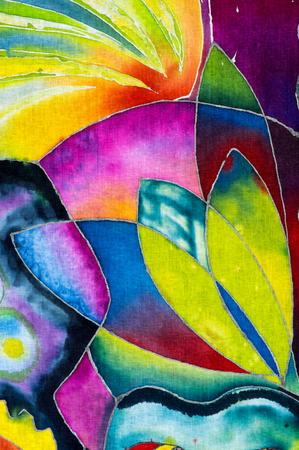 Petals, colorful abstraction, fragment, hot batik, background texture, handmade on cloth,  surrealism art