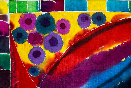 Colorful abstraction, fragment, hot batik, background texture, handmade on cloth,  surrealism art