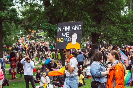 Helsinki, Finland - June 30, 2018: Participants of the Kaunopuisto garden, inscription