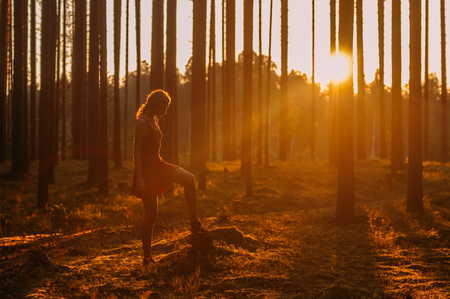 Young girl staying in evening forest Foto de archivo