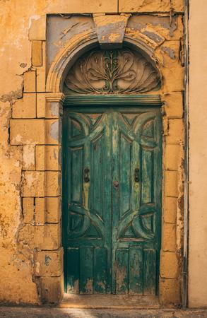 Maltese old green door, Malta Stock Photo