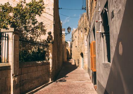 Urban street view in the center of Siggiewi, Malta