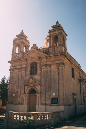 View to front of Church of Our Lady of tas-Silg in Marsaxlokk, Malta