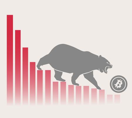 L'orso sposta Bitcoin in basso sul grafico, mercato delle criptovalute negativo, sfondo grigio Vettoriali