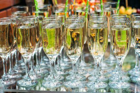 Champagne in glasses, wedding decoration Stockfoto