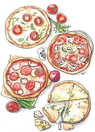 Collection of different pizza - Margherita, salami, four cheese Stock Photo