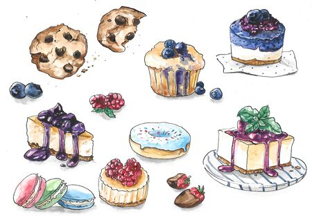 Collection of different cakes with berries and chocolate - cookies, cupcake, macaroni, donut, pie