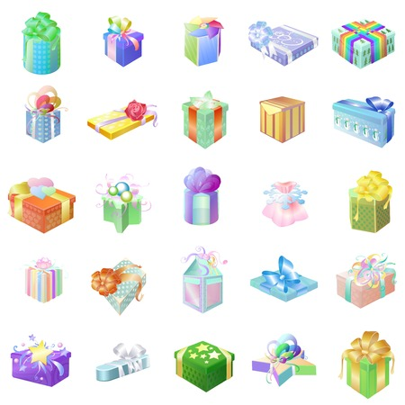 Set of colorful gift packages with various ornaments and drawings on a white background