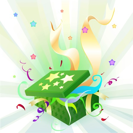 holiday celebrations: Gifts in a beautiful holiday package as a symbol of the holiday birthday or other celebrations Illustration