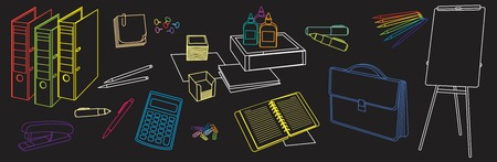 thumbnail: stationery set symbolizing the traditional office work performed in the thumbnail style on a black background