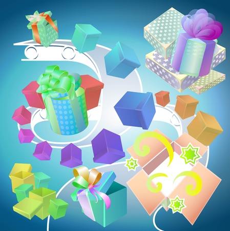 fliesband: Conveyor mit bunten Geschenkpapier verschiedenen Formen und mit unterschiedlicher Dekoration Illustration