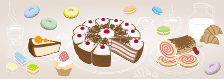 cafe au lait: Horizontal set of desserts and pastries, symbolizing a coffee shop on the cafe au lait background