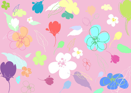 elaboration: Multi-colored flowers in the thumbnail style varying degrees of elaboration on a pink background