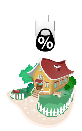 associated: Small house falling on him weights with a interest, symbolizing the risks associated with the mortgage loan Illustration