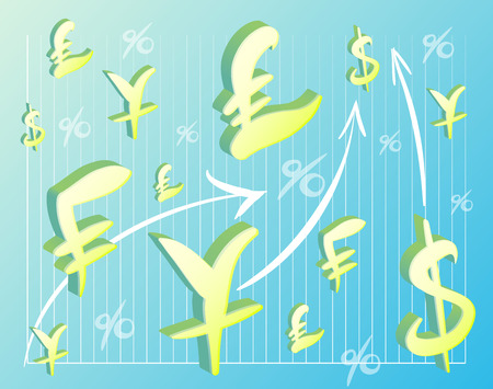 performed: Yellow graphics world currencies performed on a blue background Illustration