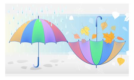 inverted: Autumn symbols: color umbrella protects from rain and inverted umbrella in autumn leaves that fall