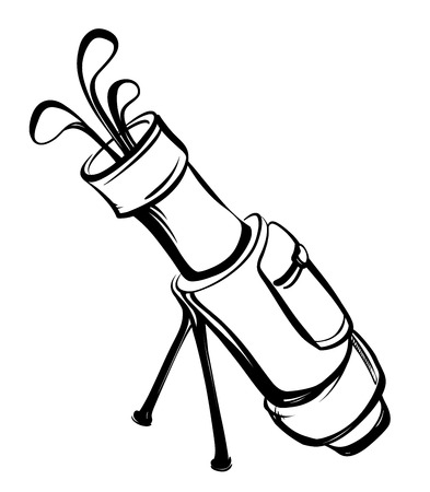 metal legs: Golf bag with clubs in black and white style thumbnail view on the legs.