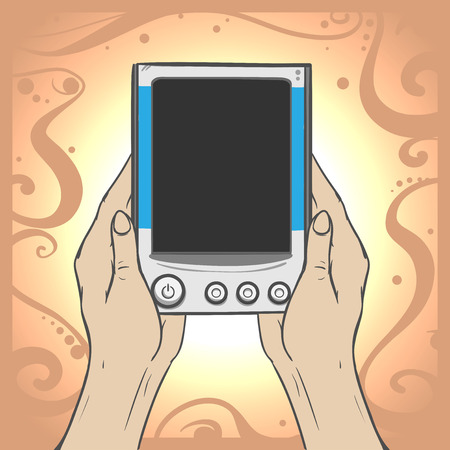 personal data assistant: Vector image of a womens hands holding the gadget - e-book on decorated background Illustration