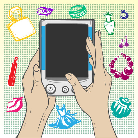 personal data assistant: Womens hands holding the gadget - e-book on a background decorated on the theme of perfume and womens jewelry