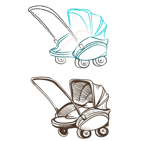 Separate retro stroller made in the thumbnail style on a white background Vector