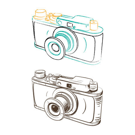 thumbnail: Mechanical retro camera made in the thumbnail style on a white background