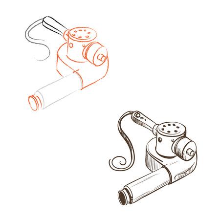 thumbnail: Retro hair dryer drawn in the thumbnail style on a white background
