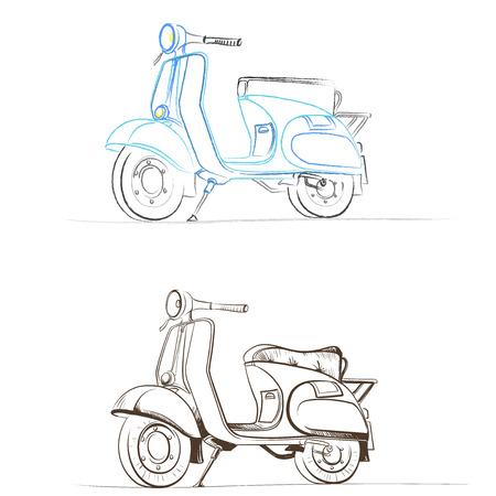 thumbnail: Vector retro scooter models in the thumbnail style on a white background