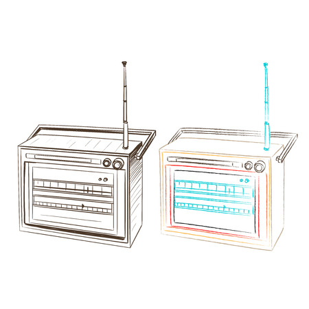 thumbnail: A separate image in the thumbnail retro radio style on a white background Illustration
