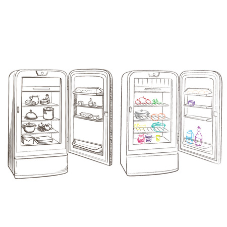 thumbnail: Separate image retro refrigerator with products made in the thumbnail style on a white background