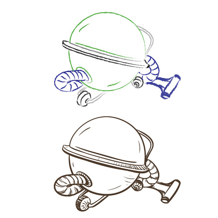 thumbnail: Separate image retro round vacuum cleaner made in the thumbnail style on a white background