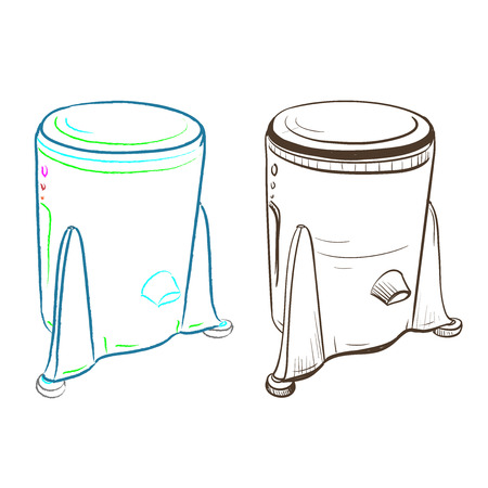 thumbnail: Separate image retro washing machine made in the thumbnail style on a white background