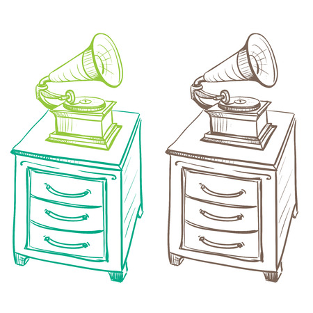 thumbnail: Detached on the nightstand retro gramophone made in the thumbnail style on a white background