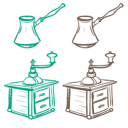 thumbnail: Isolated image of mechanical hand grinder and coffee brewing tanks made in the thumbnail style on a white background