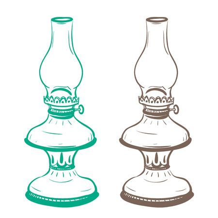thumbnail: Isolated image of a vintage oil lamp made in the thumbnail style on a white background Illustration