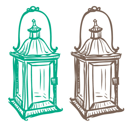thumbnail: Isolated image of a retro kerosene lantern made in the thumbnail style on a white background