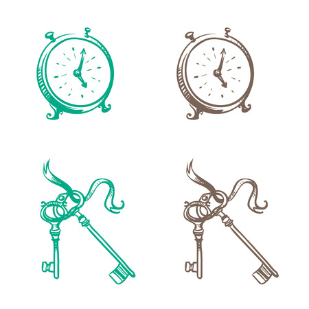 thumbnail: Isolated image of retro pocket watch and keys made in the thumbnail style on a white background Illustration