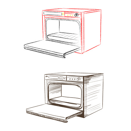 thumbnail: Retro household oven made in the thumbnail style on a white background Illustration