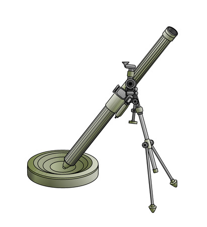metal legs: Army mortar green legged on white background with a view Illustration