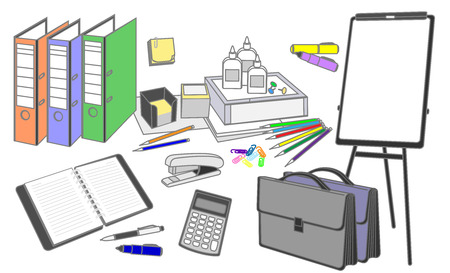 thumbnail: Stationery set symbolizing the traditional office work performed in the thumbnail style on a white background Illustration