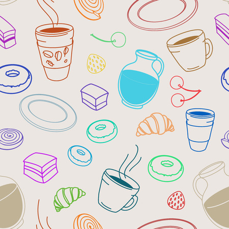 cafe au lait: Seamless set of sketches pies and desserts, symbolizing a coffee shop on the cafe au lait background