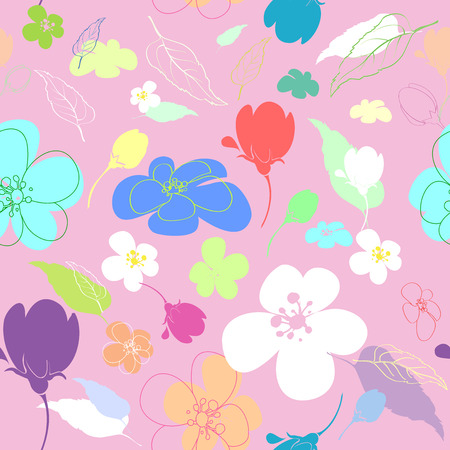 varying: Seamless multi-colored flowers in the thumbnail style varying degrees of elaboration on a pink background