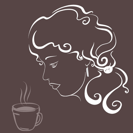 luxuriant: Romantic portrait of a girl with luxuriant hair in profile on a chocolate background